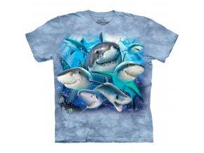 dětské tričko-vtipné-selfie žraloků-potisk-mountain-bavlna