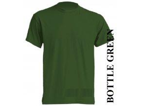 pánské, tričko, jednobarevné, bavlněné, lahvově zelené