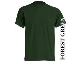 pánské, tričko, jednobarevné, bavlněné, lesní zelené