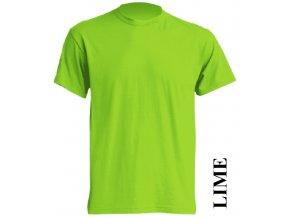 pánské, tričko, jednobarevné, bavlněné, limetkově zelené