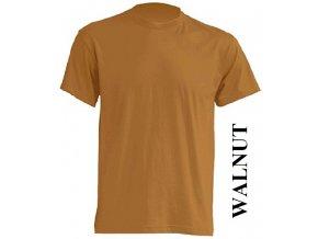 pánské, tričko, jednobarevné, bavlněné, oříškově hnědé