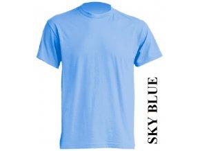 pánské, tričko, jednobarevné, bavlněné, nebesky modré
