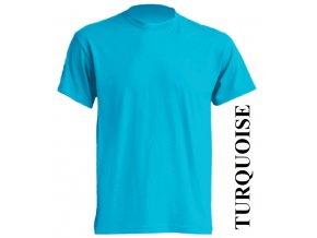 pánské, tričko, jednobarevné, bavlněné, tyrkysové