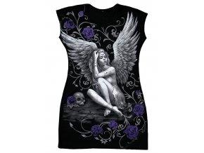 tunika, bavlna, potisk, gotika, anděl, fialové růže