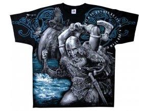 tričko, potisk, viking, runy, drakar, sekera