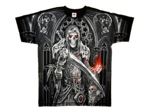 tričko, potisk, fantasy, nekromant, lebky, hororové