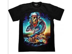 tričko, rockové, smrt, kostlivec, svítící, fluorescenční potisk