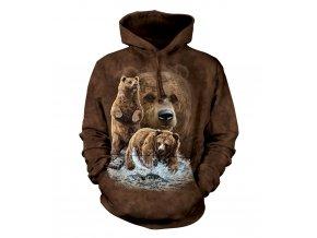 mikina, the Mountain, potisk, batikovaná, kapuce, medvěd