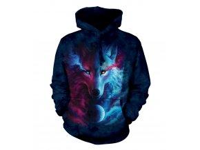 mikina, the Mountain, potisk, batikovaná, vlk, zoodiac