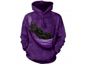 mikina, the Mountain, potisk, batikovaná, fialová, kočka