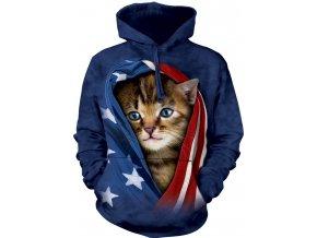 mikina, the Mountain, potisk, batikovaná, kotě, americká vlajka