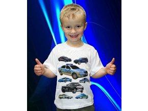 tričko, dětské, pánské, potisk, auta, policie
