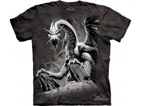 tričko-černý drak-mountain-potisk-batikované-černé