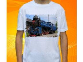 tričko s parní lokomotivou