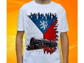 tričko parní lokomotiva černá
