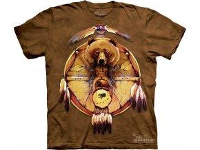 tričko-indiánské-medvěd-potisk-batikované-amulet