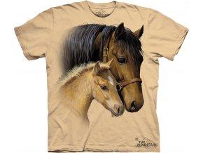 tričko, kůň, hříbě, potisk, batikované, mountain