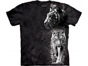 tričko, bílý tygr, černé, batikované, potisk, mountain