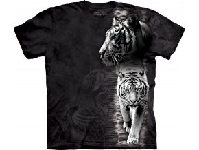 tričko-bílý tygr-černé-batikované-potisk-mountain