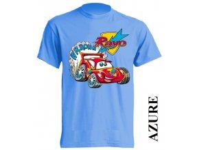 levné-dětské-tričko-auto-azurove-modre
