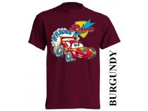 bavlněné-dětské-tričko-vínové-burgundy-auta