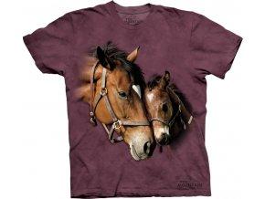 tričko, klisna, hříbě, potisk, batikované, kůň