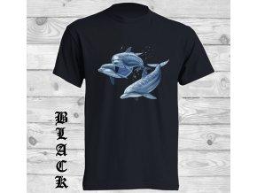cerne tricko delfini