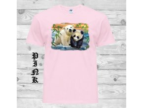 ruzove tricko panda medvidek