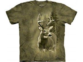 tričko, jelen, myslivecké, batikované,  potisk, mountain
