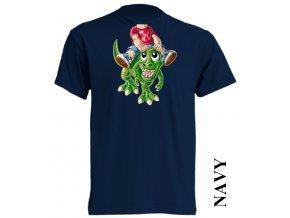 bavlněné-levné-dětské_tričko-tmavě_modré-potisk-dinosaurus