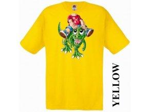 bavlněné-levné-dětské-tričko-žluté-dinosaurus