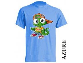 levné-dětské-tričko-azurově_modré-ještěrka