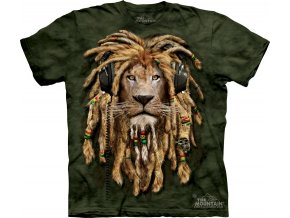 tričko, lev, rasta, potisk, batikované, mountain