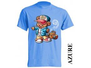 levné-dětské-tričko-azurově_modré-medvídek-hip_hop