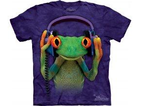 Tričko, žába, vtipné, sluchátka, batikované