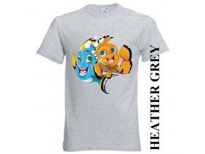 bavlněné-dětské-tričko-šedé-potisk-dory-nemo