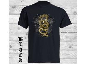 cerne tricko zlaty drak
