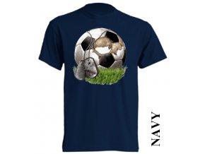 bavlněné-levné-dětské_tričko-tmavě_modré-potisk-fotbalový míč