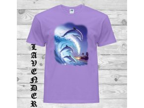 levandulove tricko delfini vlna