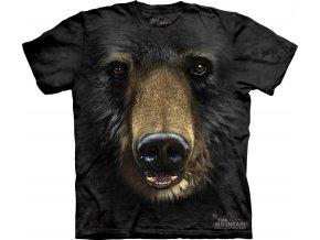 Tričko, černý medvěd, 3d, potisk, batikované, mountain