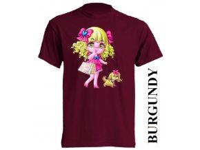 bavlněné-dětské-tričko-vínové-burgundy-barbie