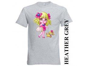 bavlněné-dětské-tričko-šedé-potisk-barbie-pejsek