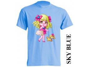 dětské-tričko-světle_modré-motiv-barbie-pejsek