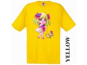 bavlněné-levné-dětské-tričko-žluté-barbie