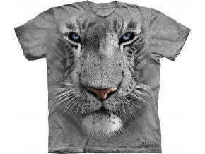 tričko-bílý tygr-3D-potisk-batikované-šedé
