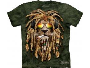tričko, rasta, kouřící lev, joint, batikované, mountain