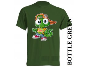 bavlněné-dětské_tričko_s_potiskem-tmavě_zelené-ještěrka_z_los_angeles