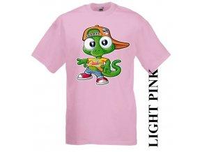 dětské-tričko-růžové-motiv-ještěrka