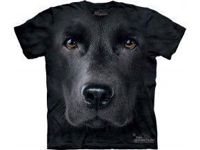 Tričko, pes, černý labrador, 3d, potisk, batikované