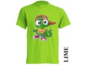 dětské-tričko-limetkové-potisk-ještěrka